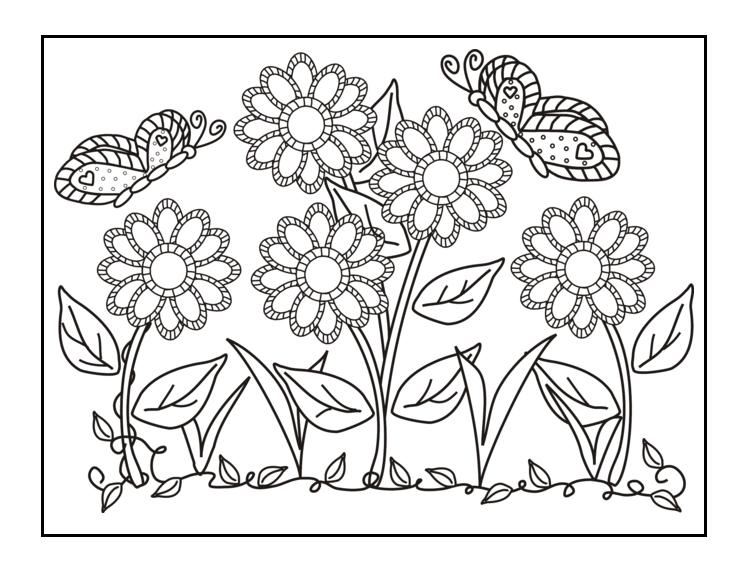 Flower garden coloring sheets