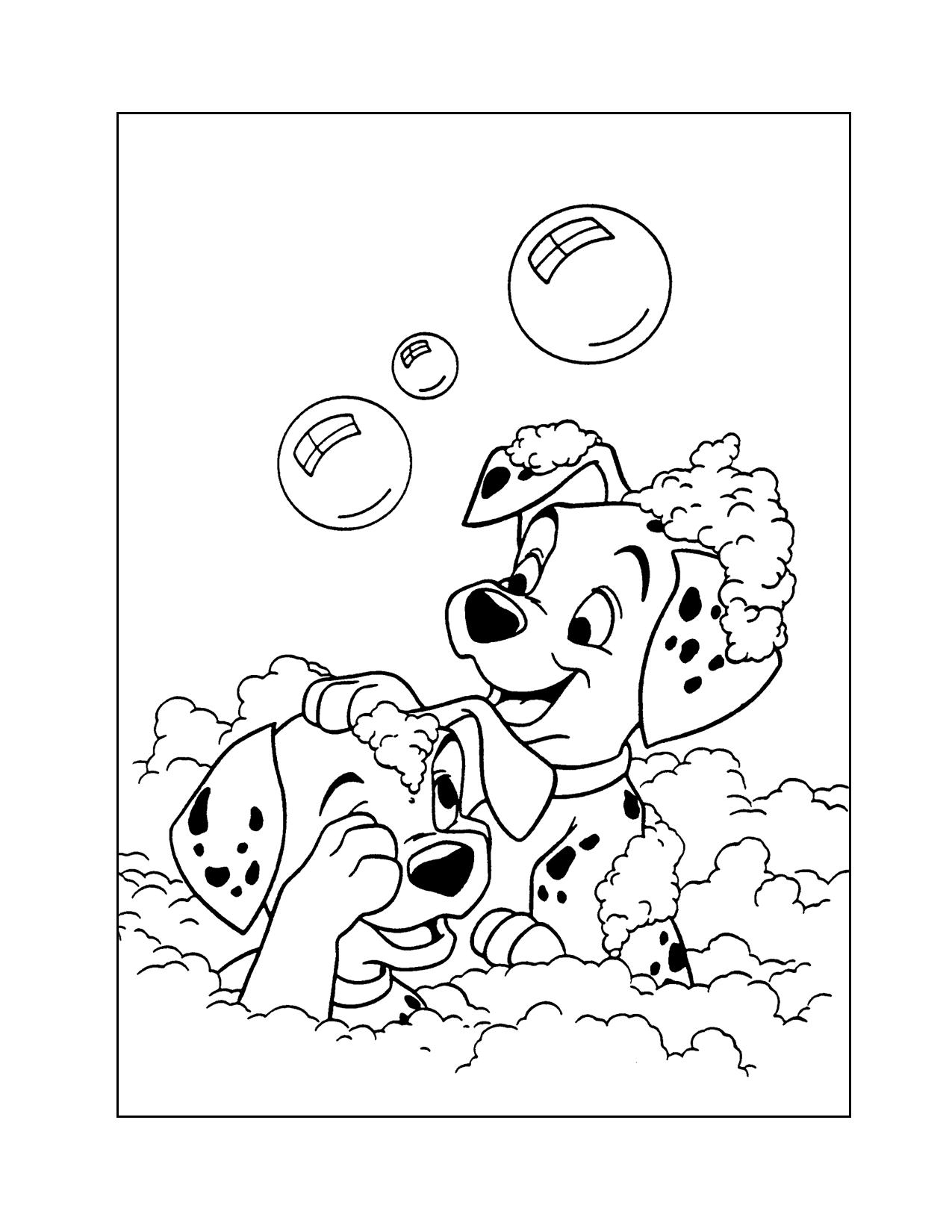 101 Dalmatians Have A Bubble Bath Coloring Page