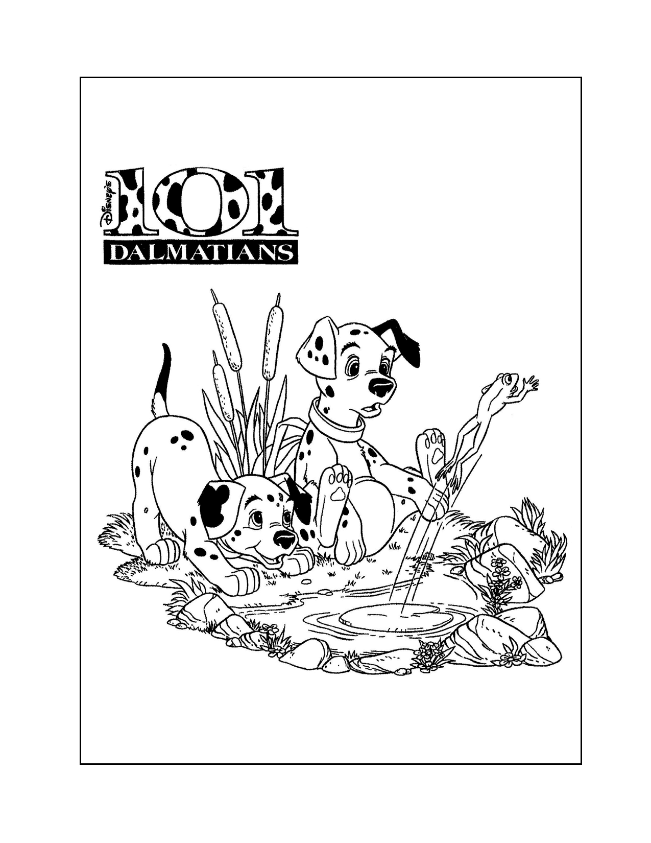 101 Dalmatians Puppies In A Pond Coloring Page
