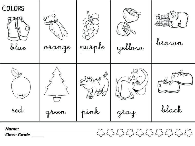1st Grade Colors Worksheet