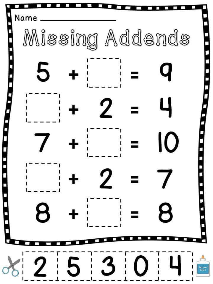 1st Grade Math Cut and Paste Worksheet