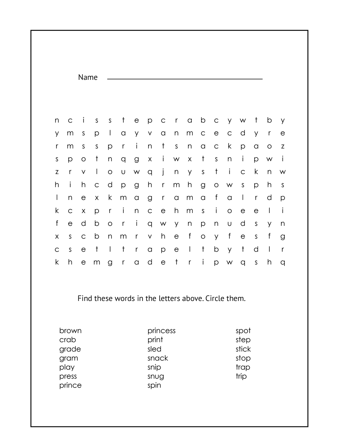 1st Grade Printable Word Search #8