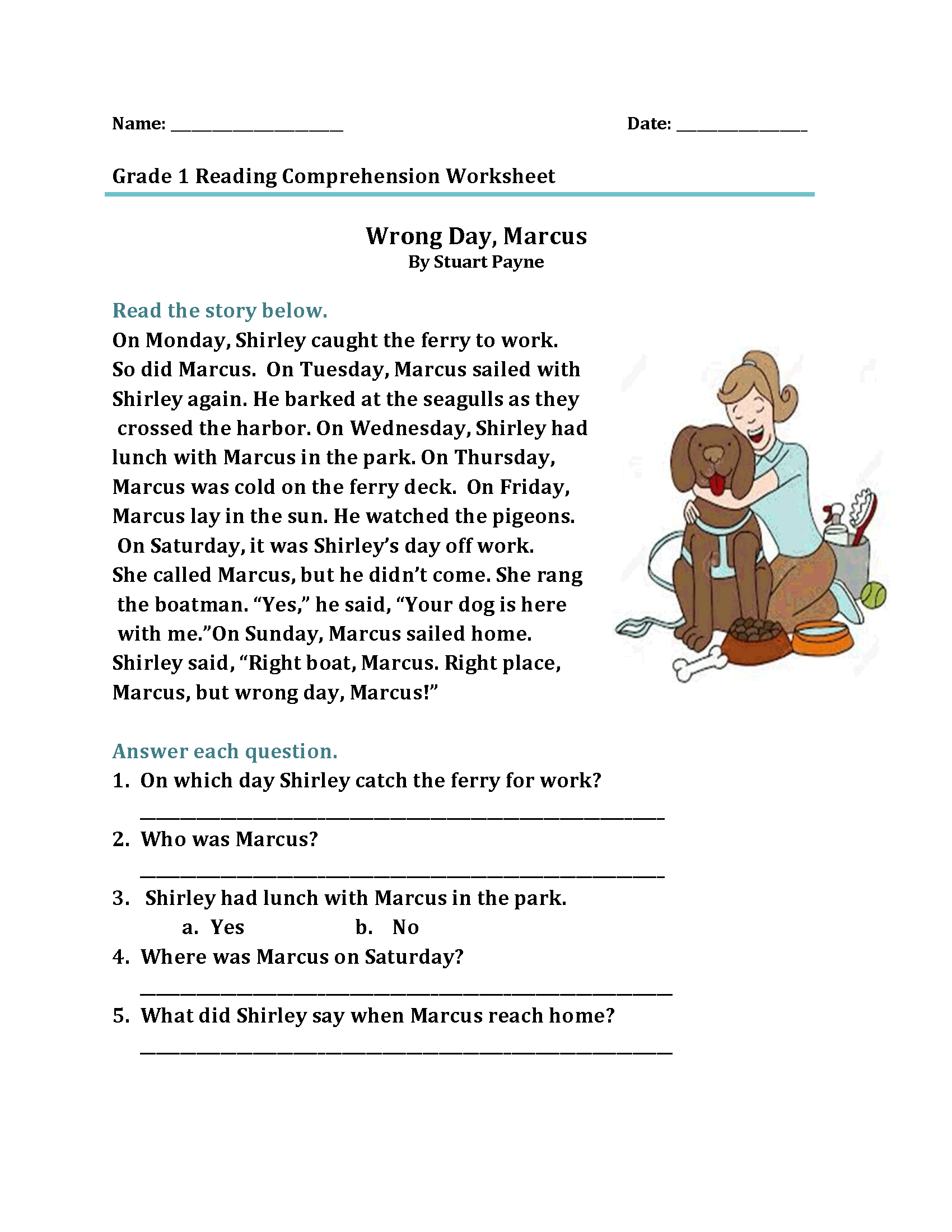 - 1st Grade Reading Comprehension Worksheet – Coloring.rocks!