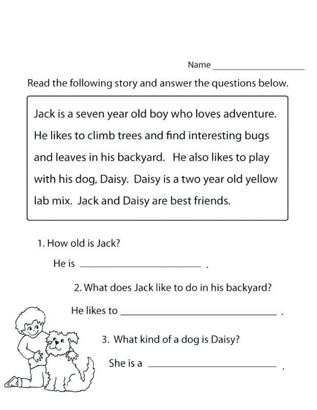 1st Grade Reading Worksheet – Coloring.rocks!