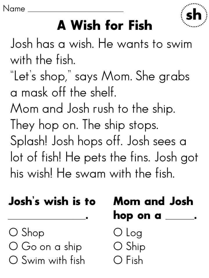 1st Grade Story Reading Worksheet – Coloring.rocks!