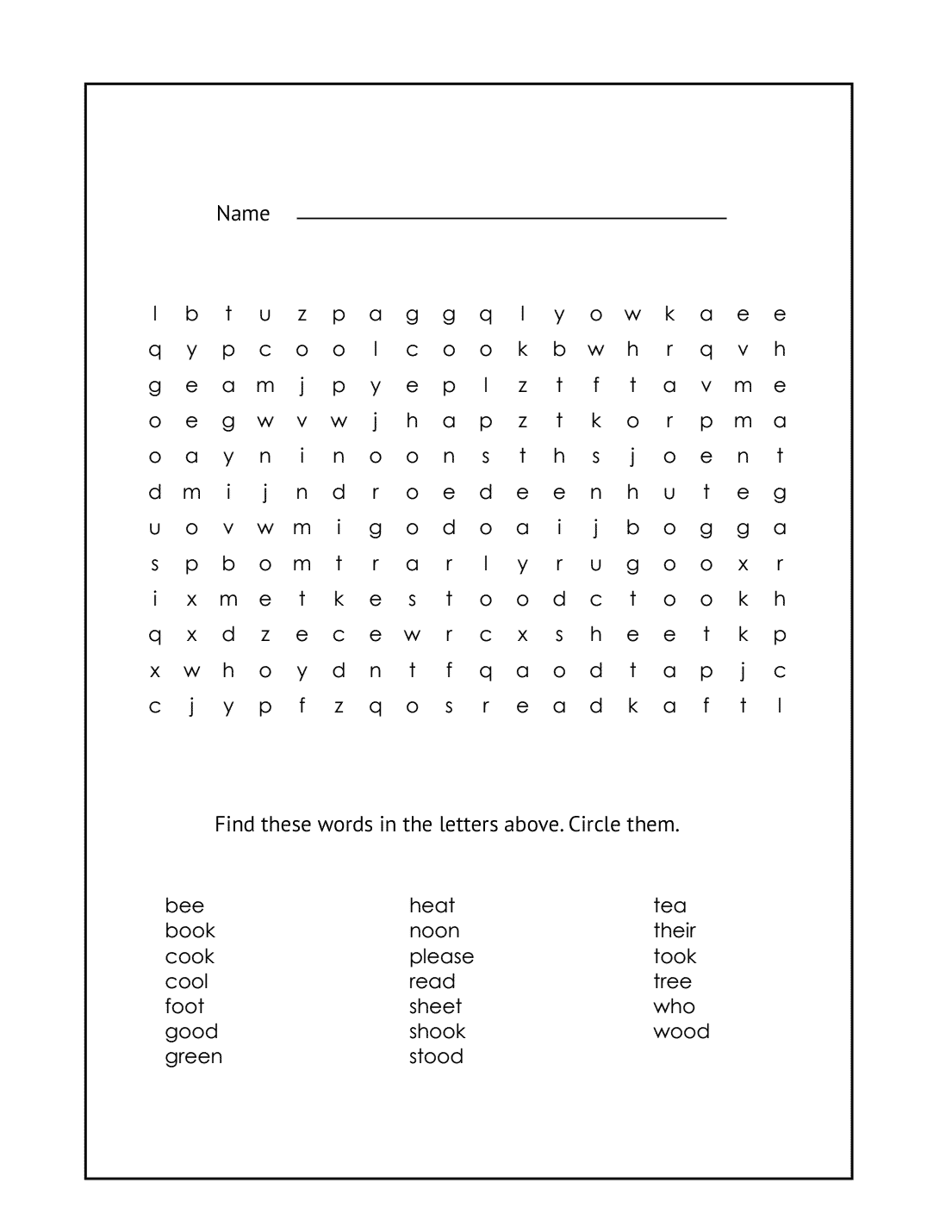 1st Grade Word Search Printable #10