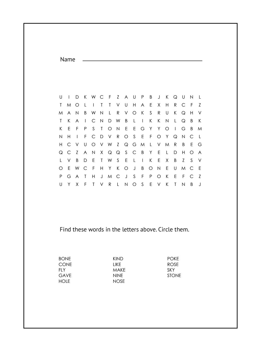 1st Grade Word Search Printable #5