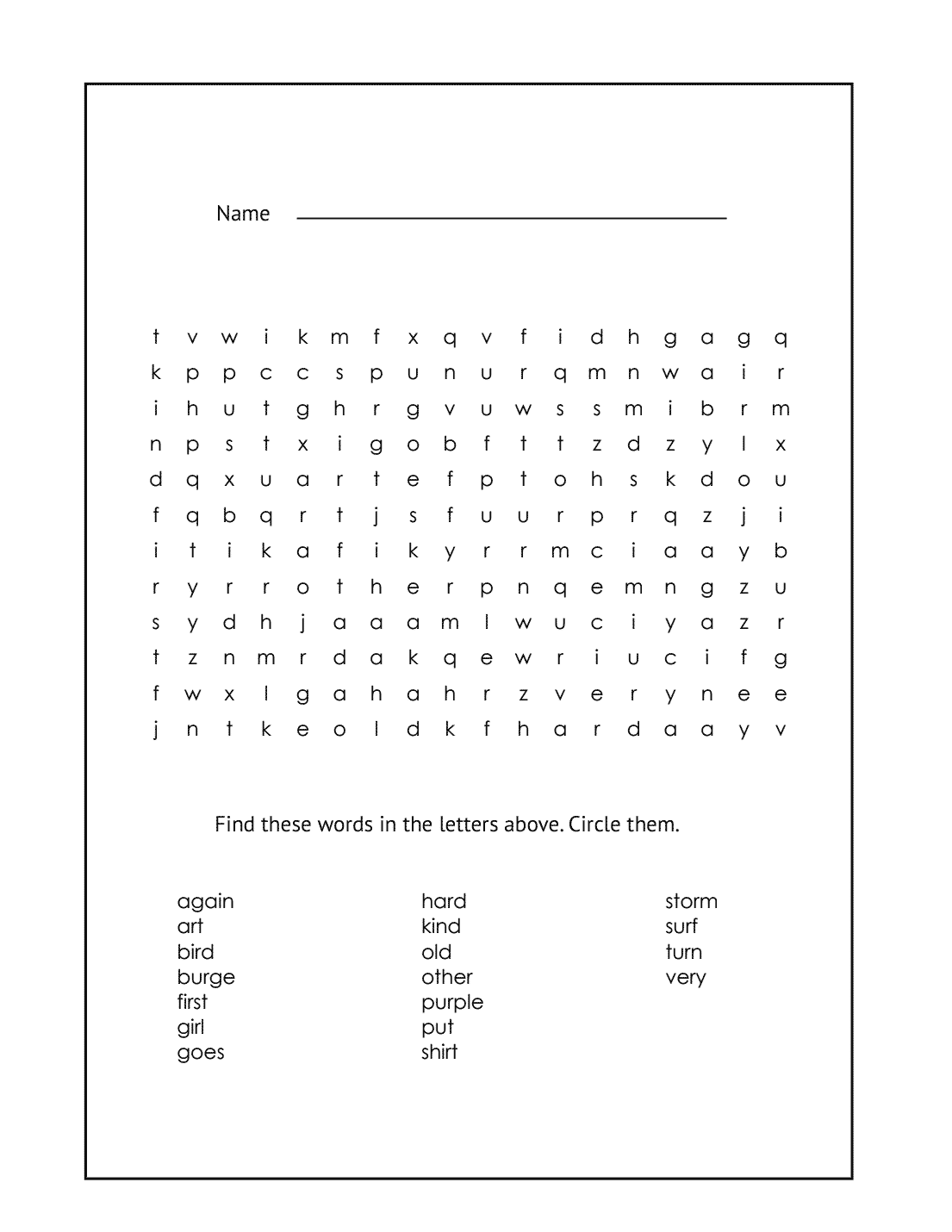 1st Grade Word Search Printable Puzzle #14