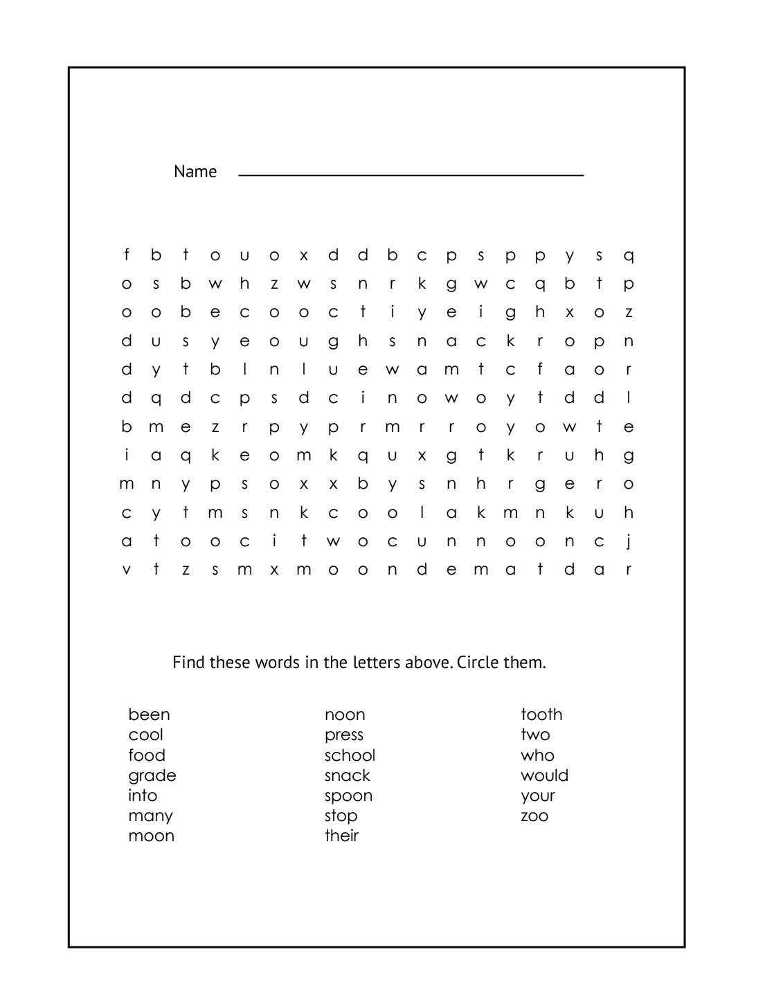 1st Grade Word Search Printable Sheet #9