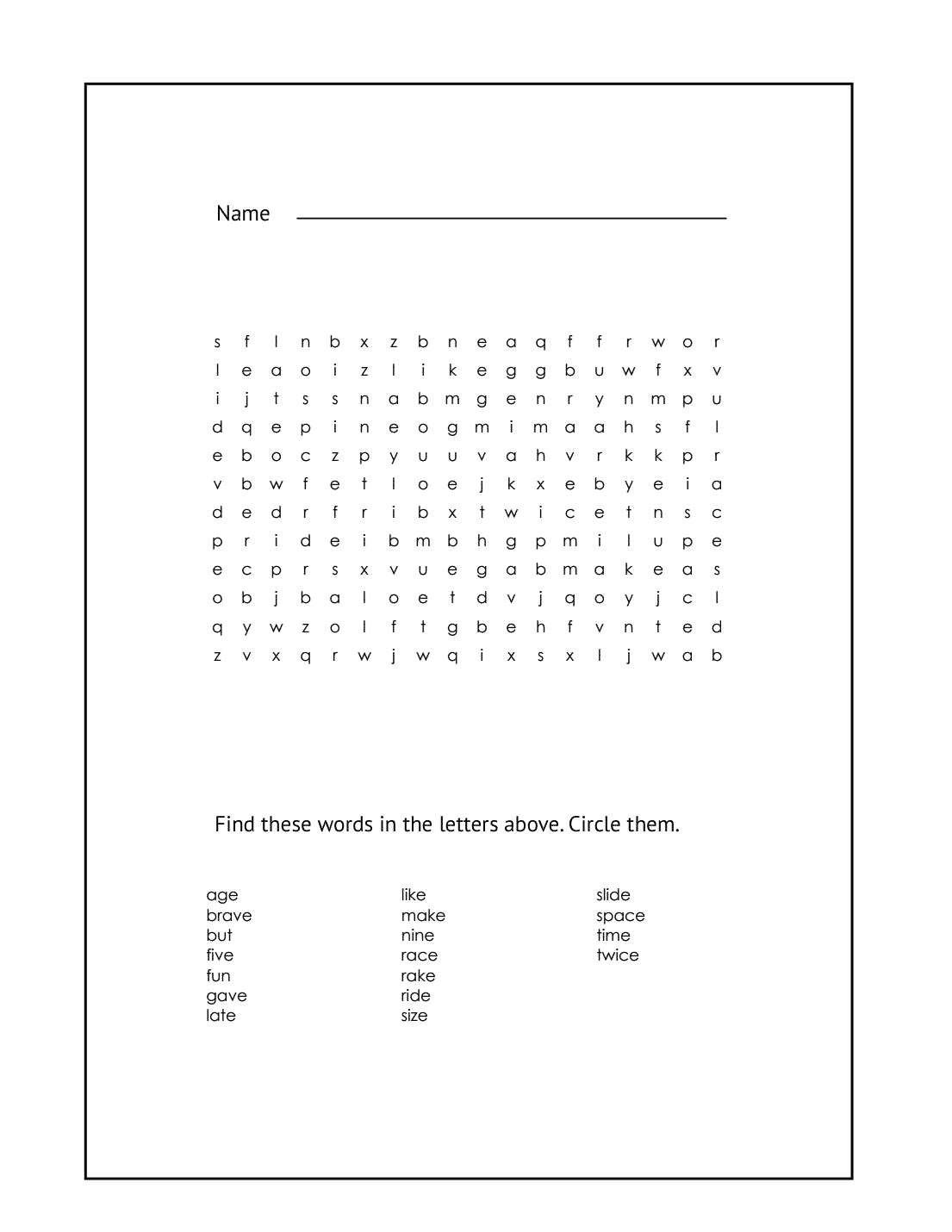 1st Grade Word Search Puzzle #4