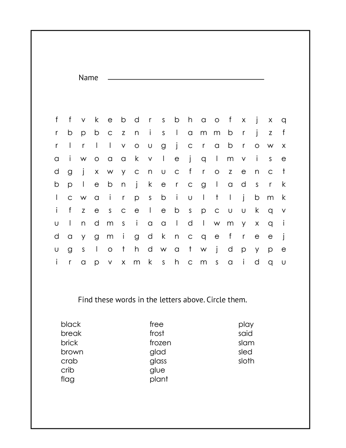1st Grade Word Search Puzzle #7