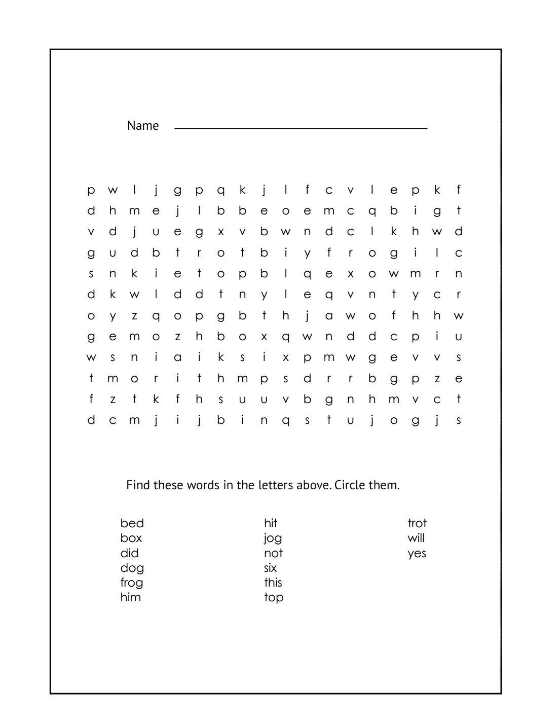 1st Grade Word Search Worksheet #2