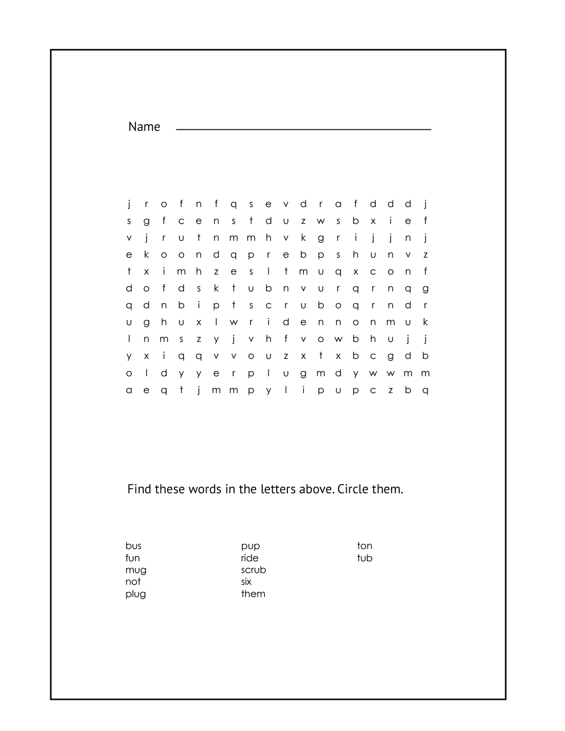1st Grade Wordsearch Puzzle #3