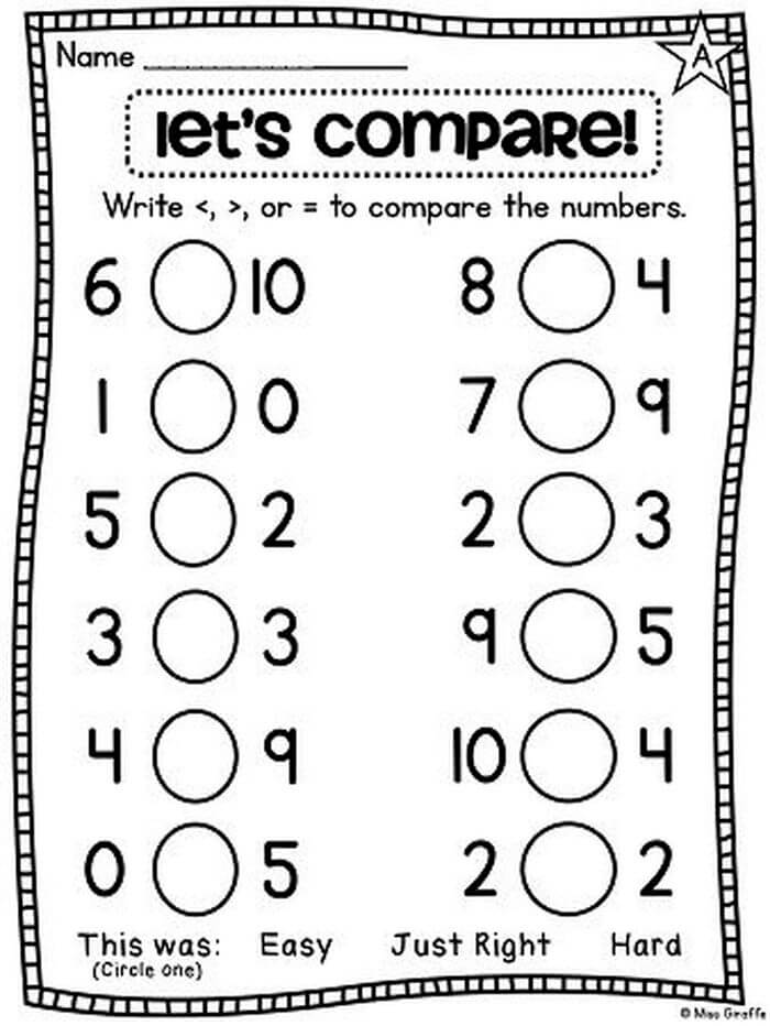 1st Grade Worksheet - Greater Lesser Than