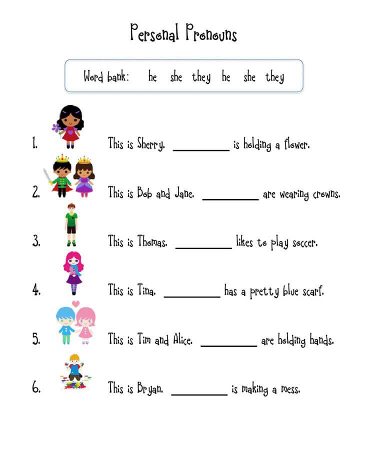 1st Grade Worksheet - Pronouns