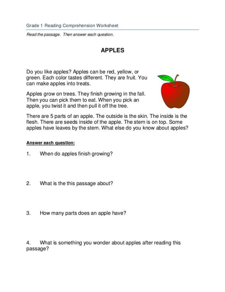 1st Grade Worksheets - Reading