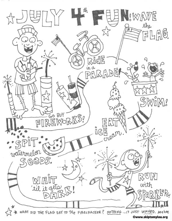 4th of July Activities Coloring Pages