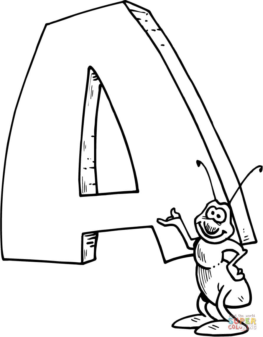 A for Ant Coloring Pages