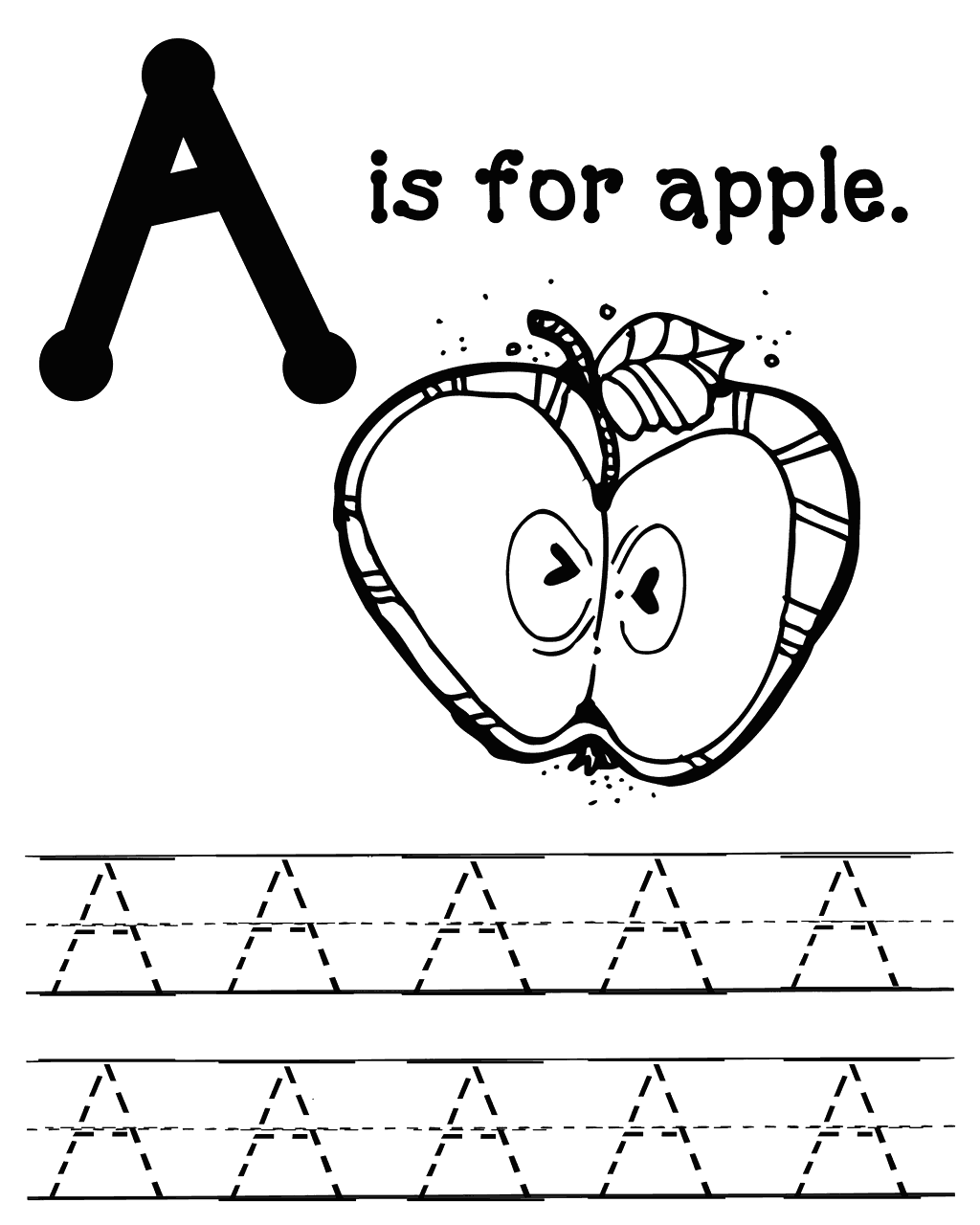 A is for Apple Color and Tracing Worksheet