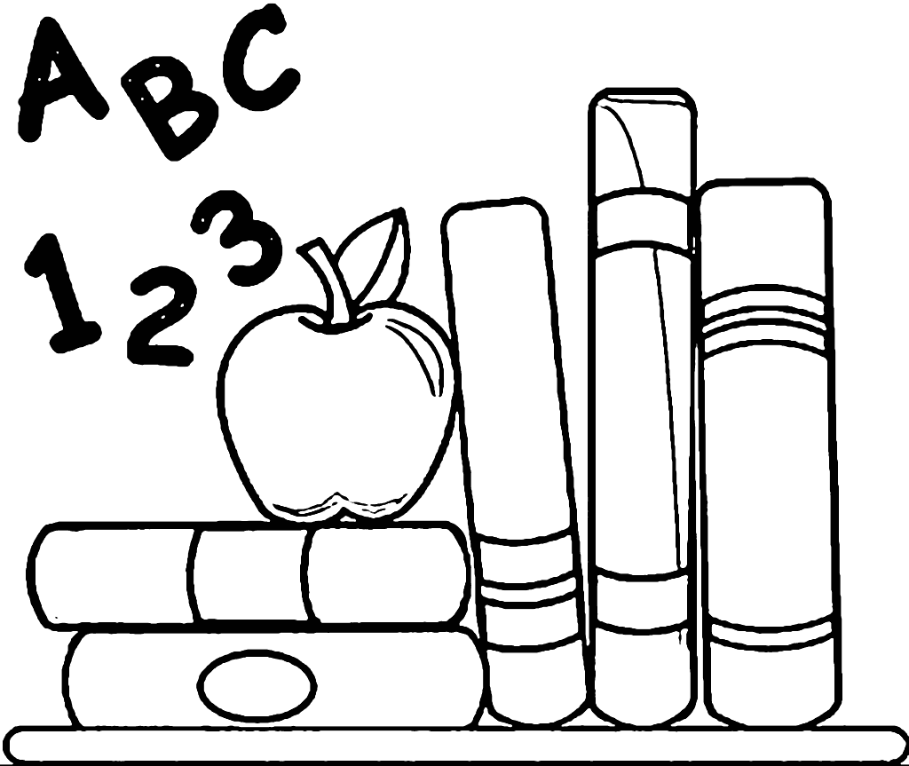 ABC-123 School Apple and Books Coloring Page