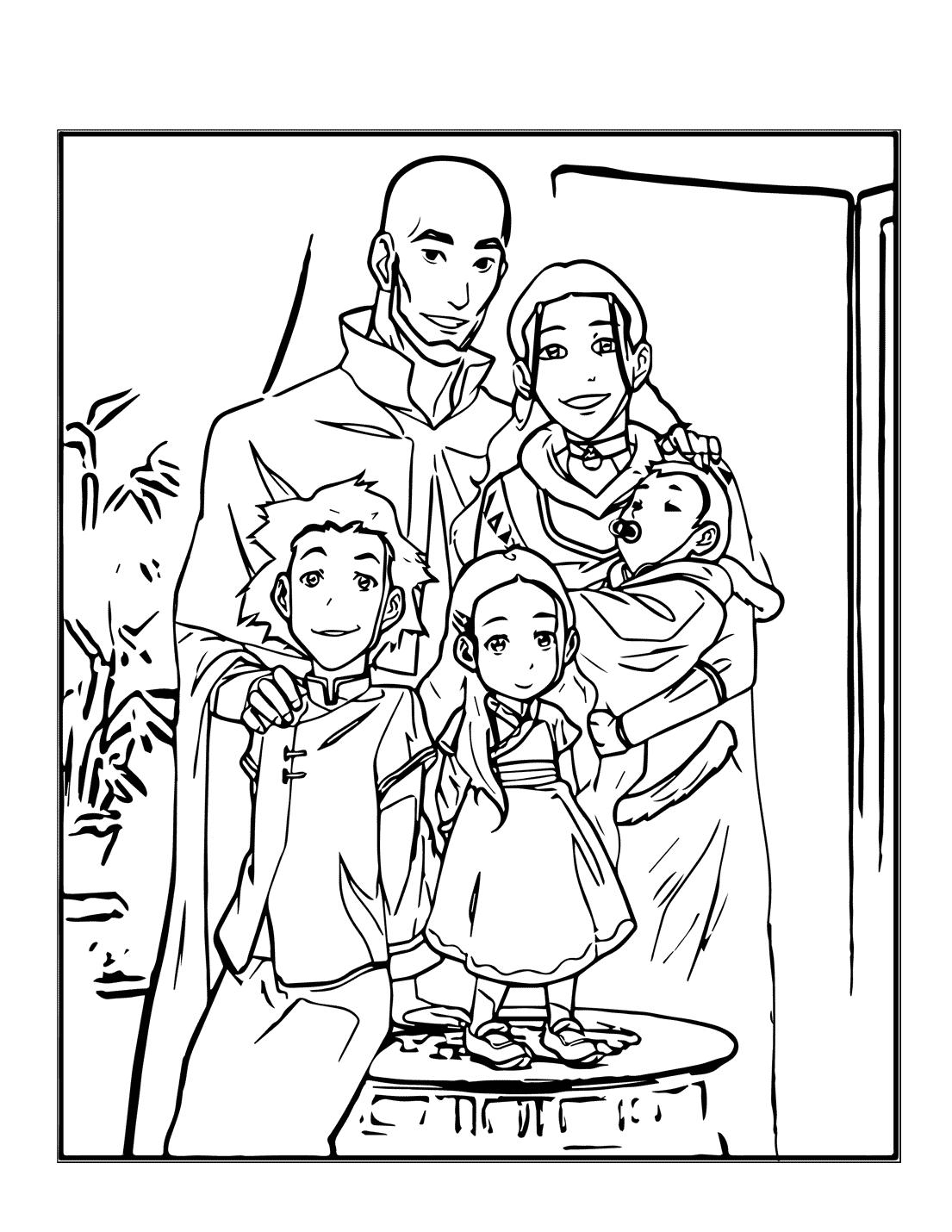 Aang And Katara As Adults Coloring Page
