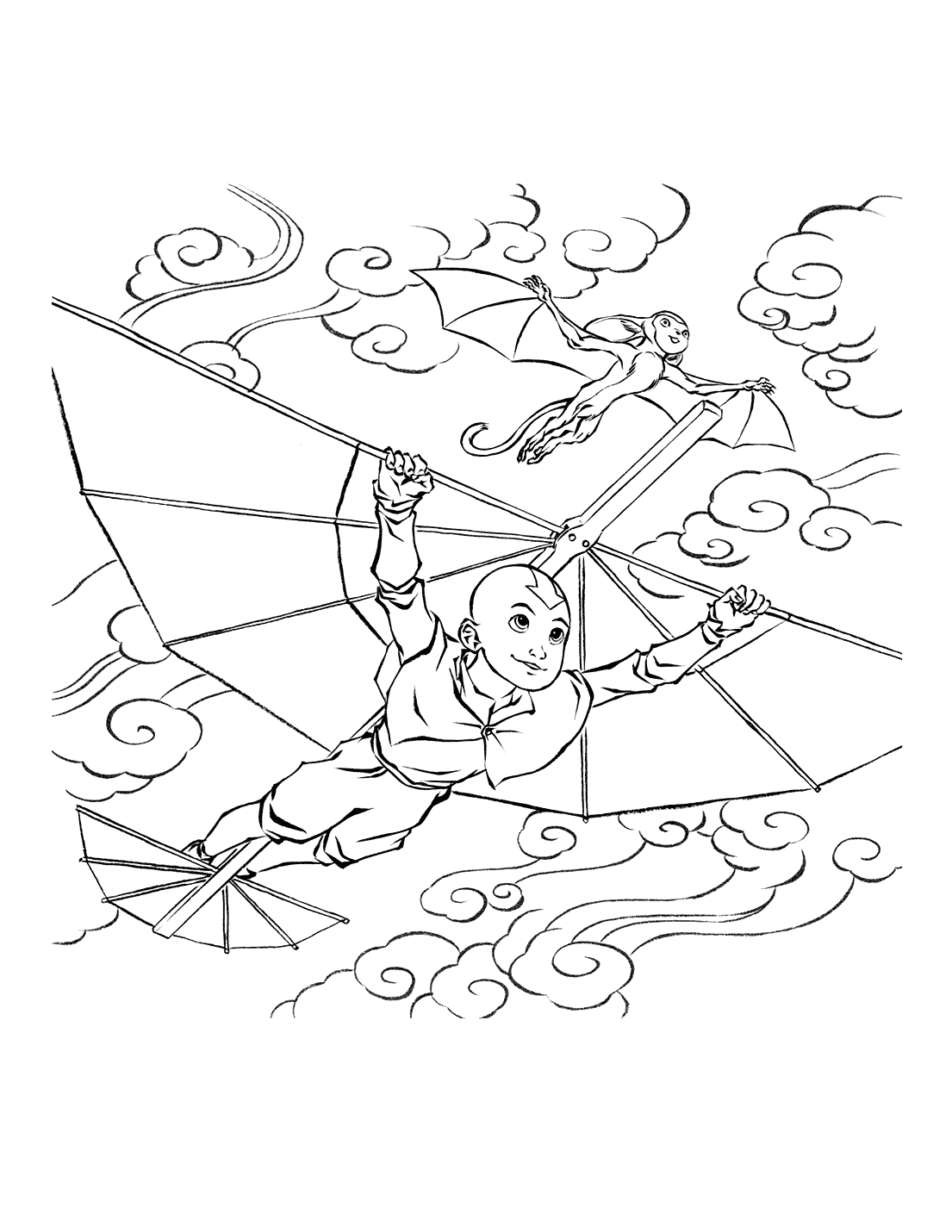 Aang And Momo Air Bending Coloring Page