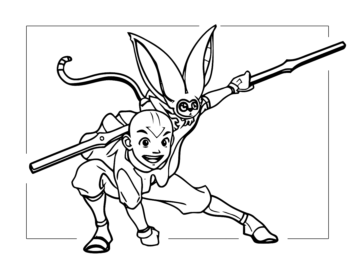 Aang And Momo Coloring Pages