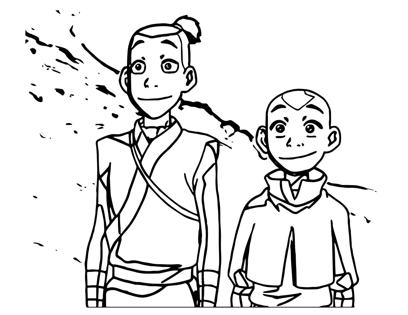Aang And Sokka Avatar Coloring Page