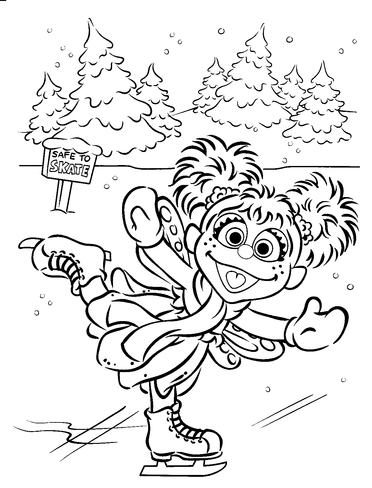 Abby Ice Skating Sesame Street Coloring Pages