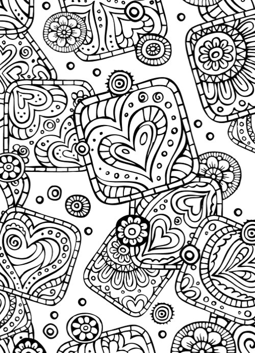 Abstract Valentines Day Coloring Page for Adults