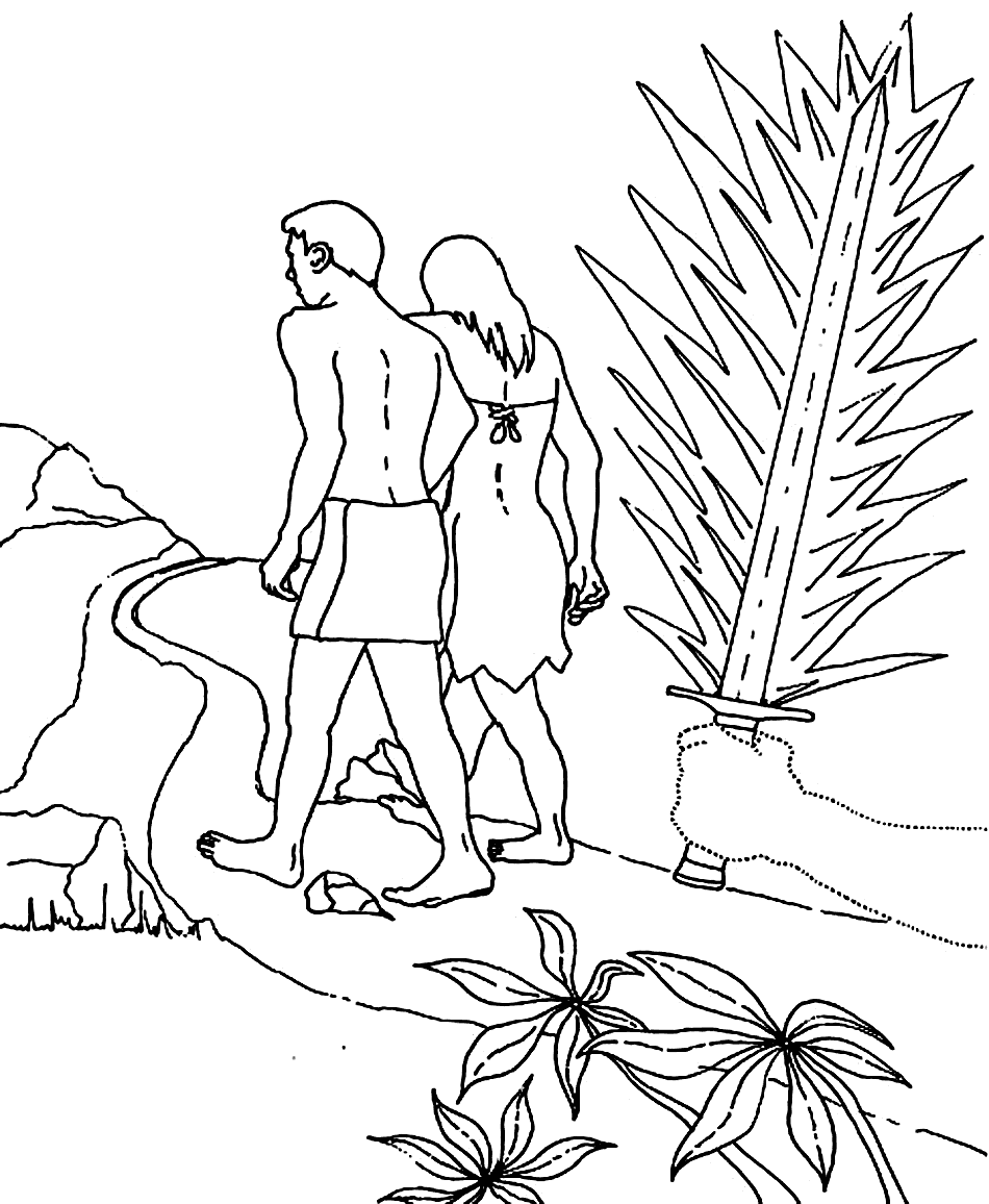 Adam And Eve Cast Out Of The Garden Bible Coloring Sheet