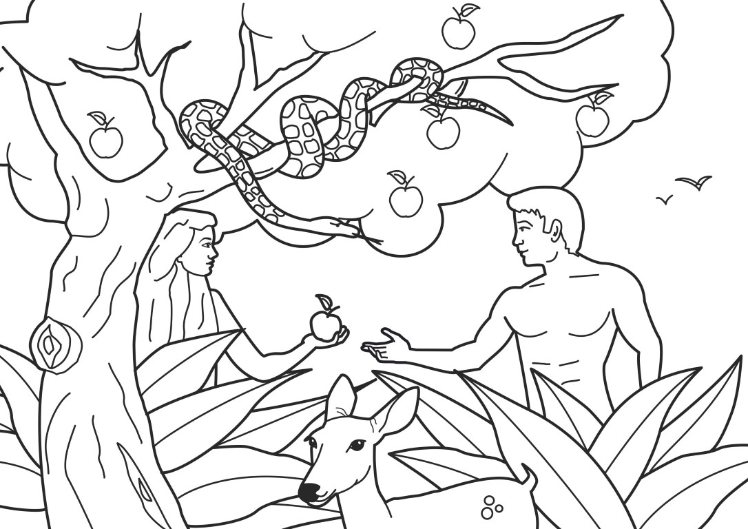 Adam and Eve Forbidden Fruit - Bible Coloring Pages