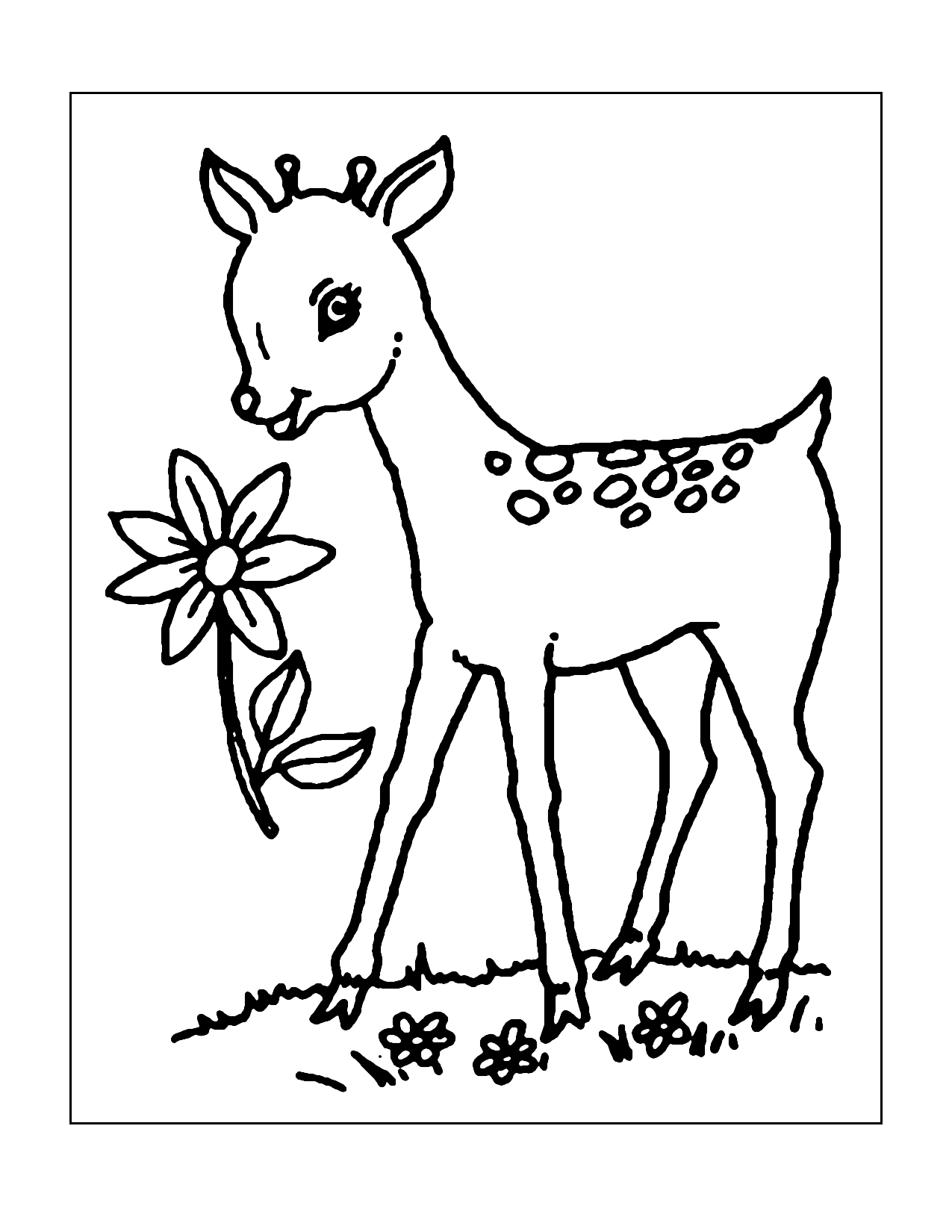 Adorable Baby Deer Coloring Page