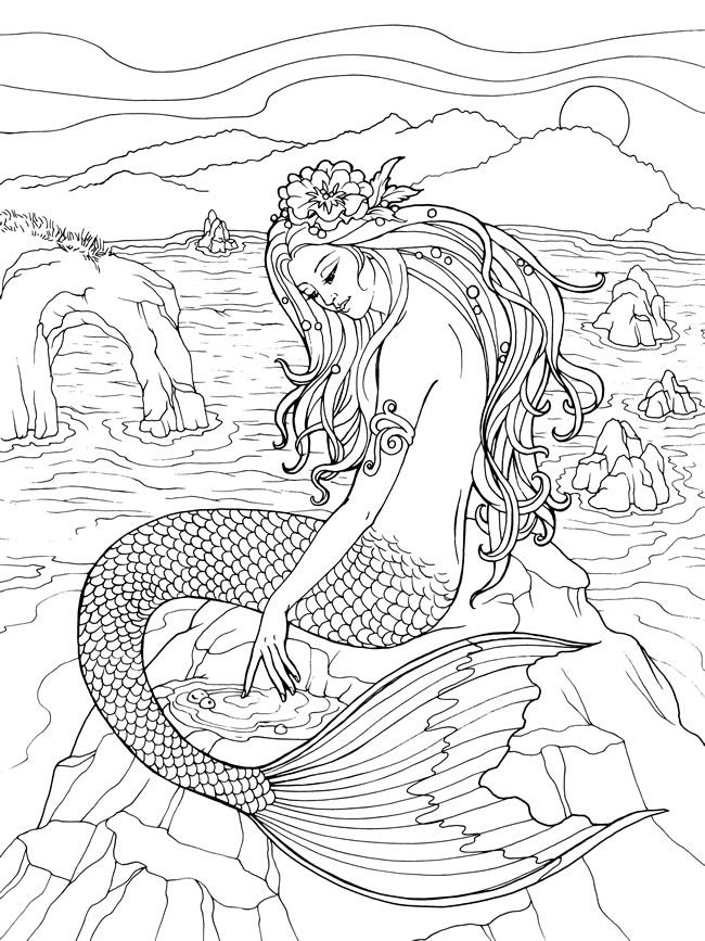 Adult Mermaid Coloring Pages