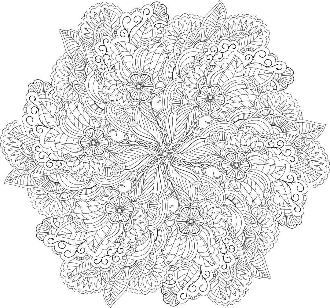 Advanced Flower Mandala Coloring Page