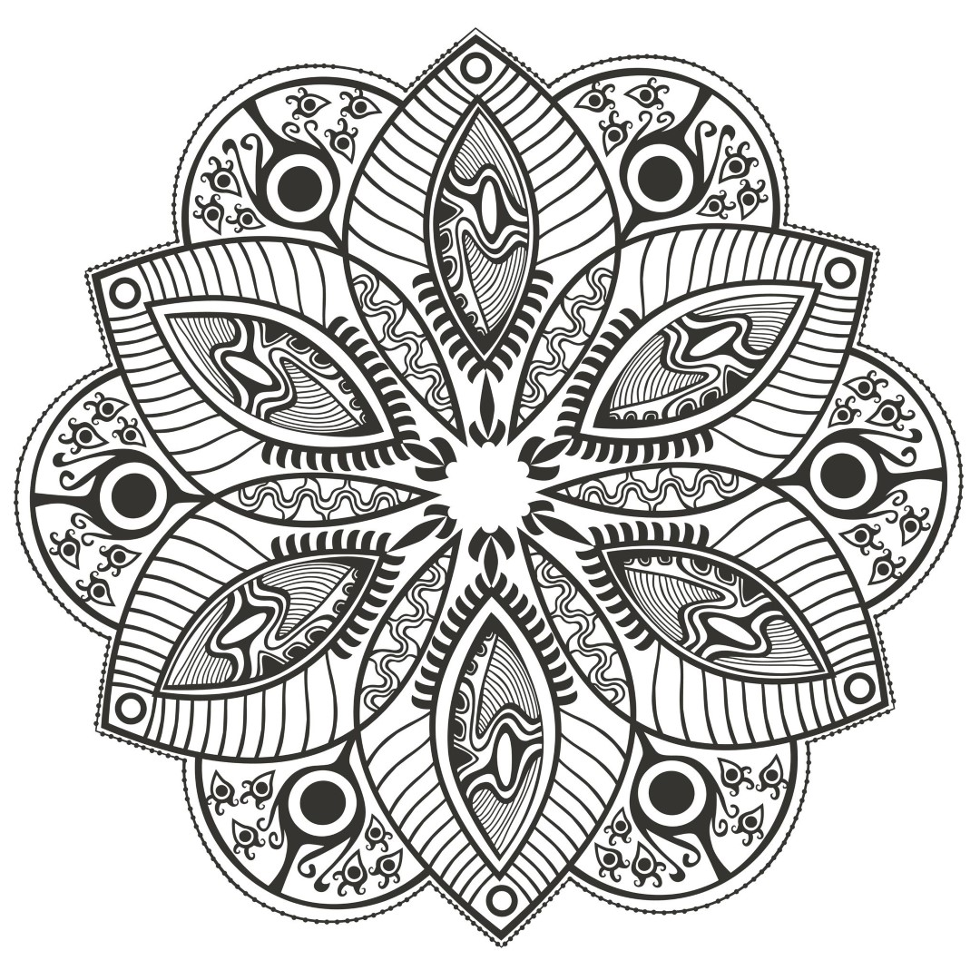 Advanced Flower Mandala Coloring Pages for Adults