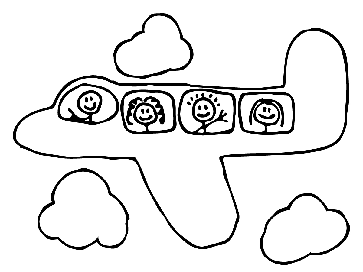 Airplane Coloring Page for Kindergarten