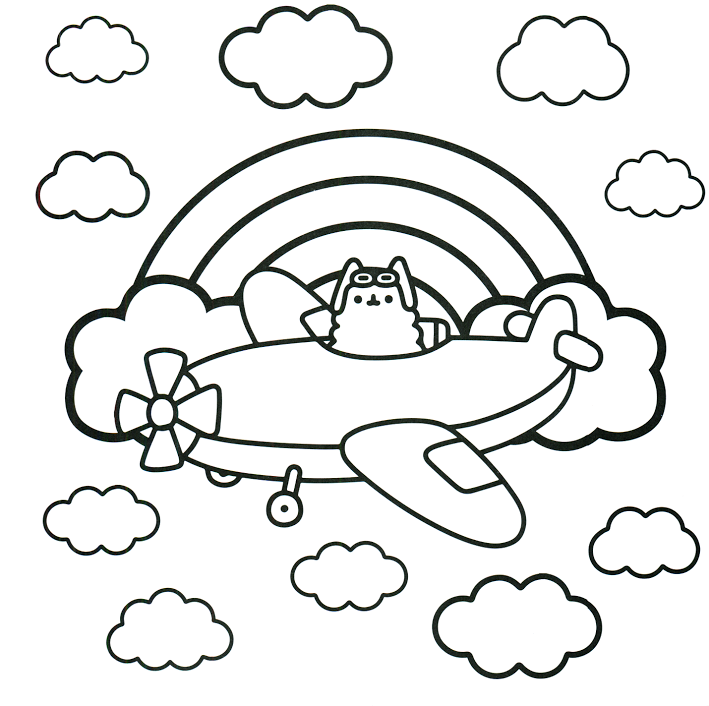 Airplane Kawaii Coloring Pages