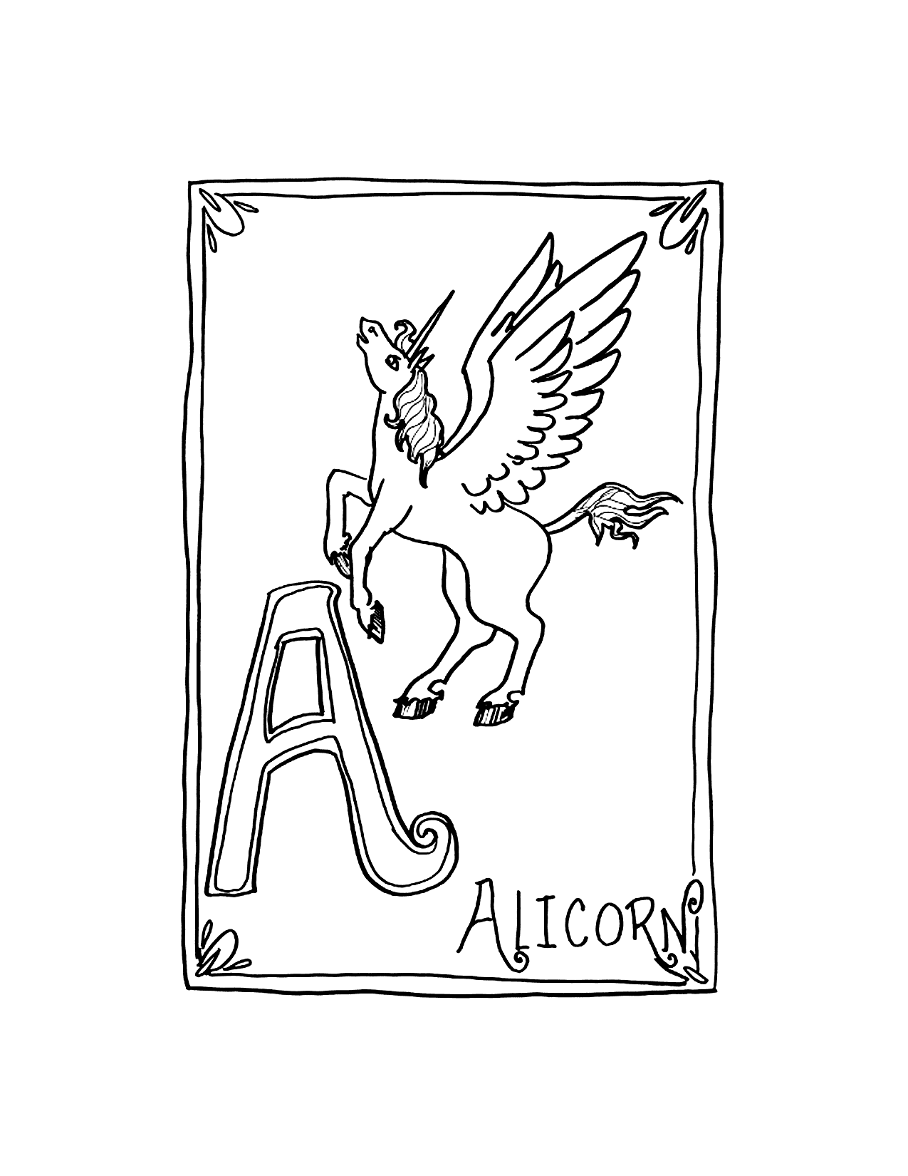 Alicorn Coloring Pages