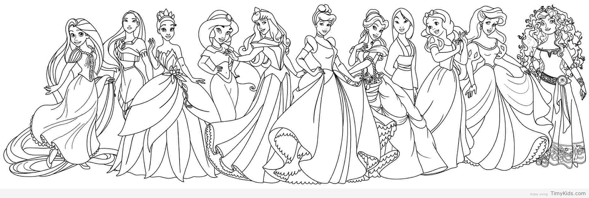 Dibujos Para Colorear Princesas Disney Jasmine: Disney Princess Coloring Pages ⋆ Coloring.rocks