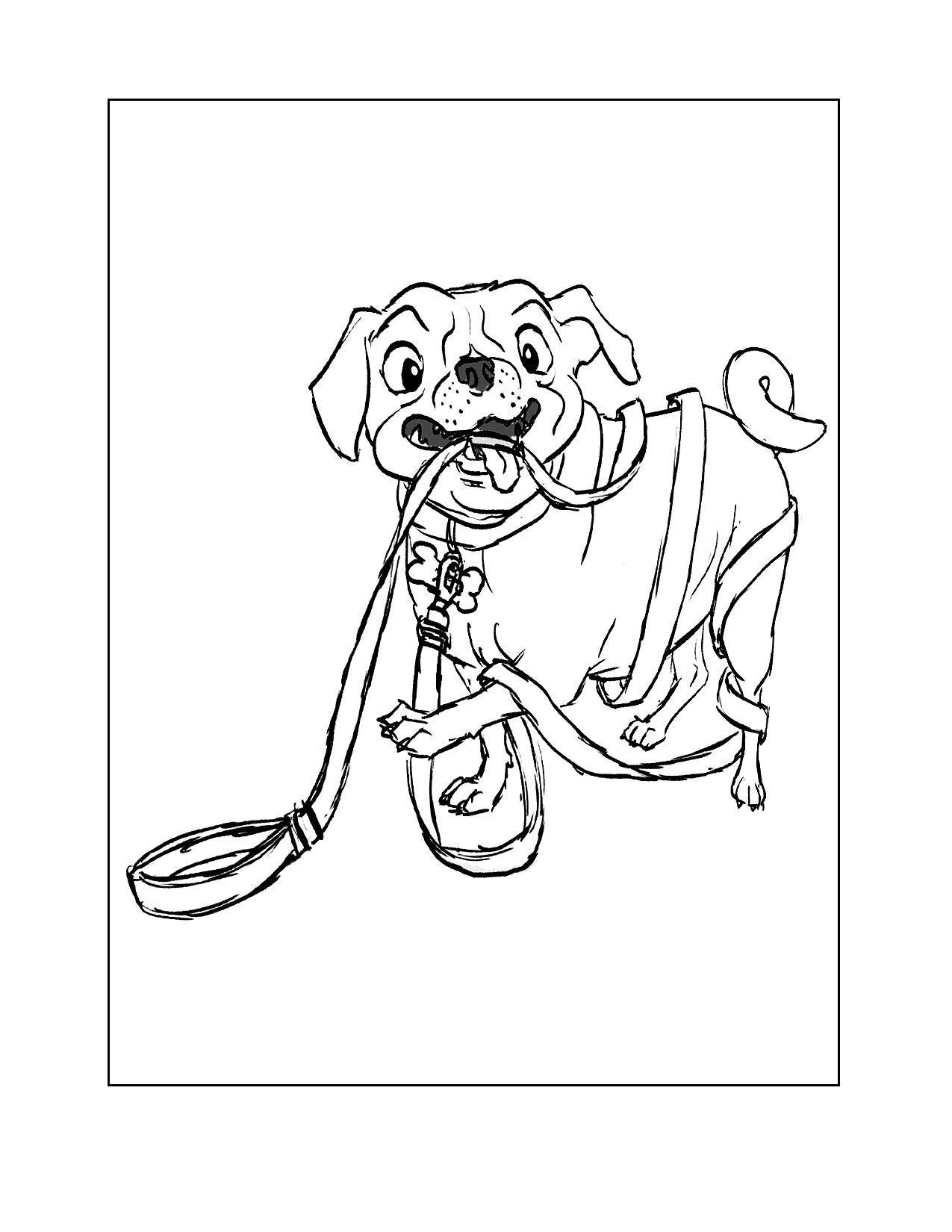 All Tied Up Pug Coloring Page