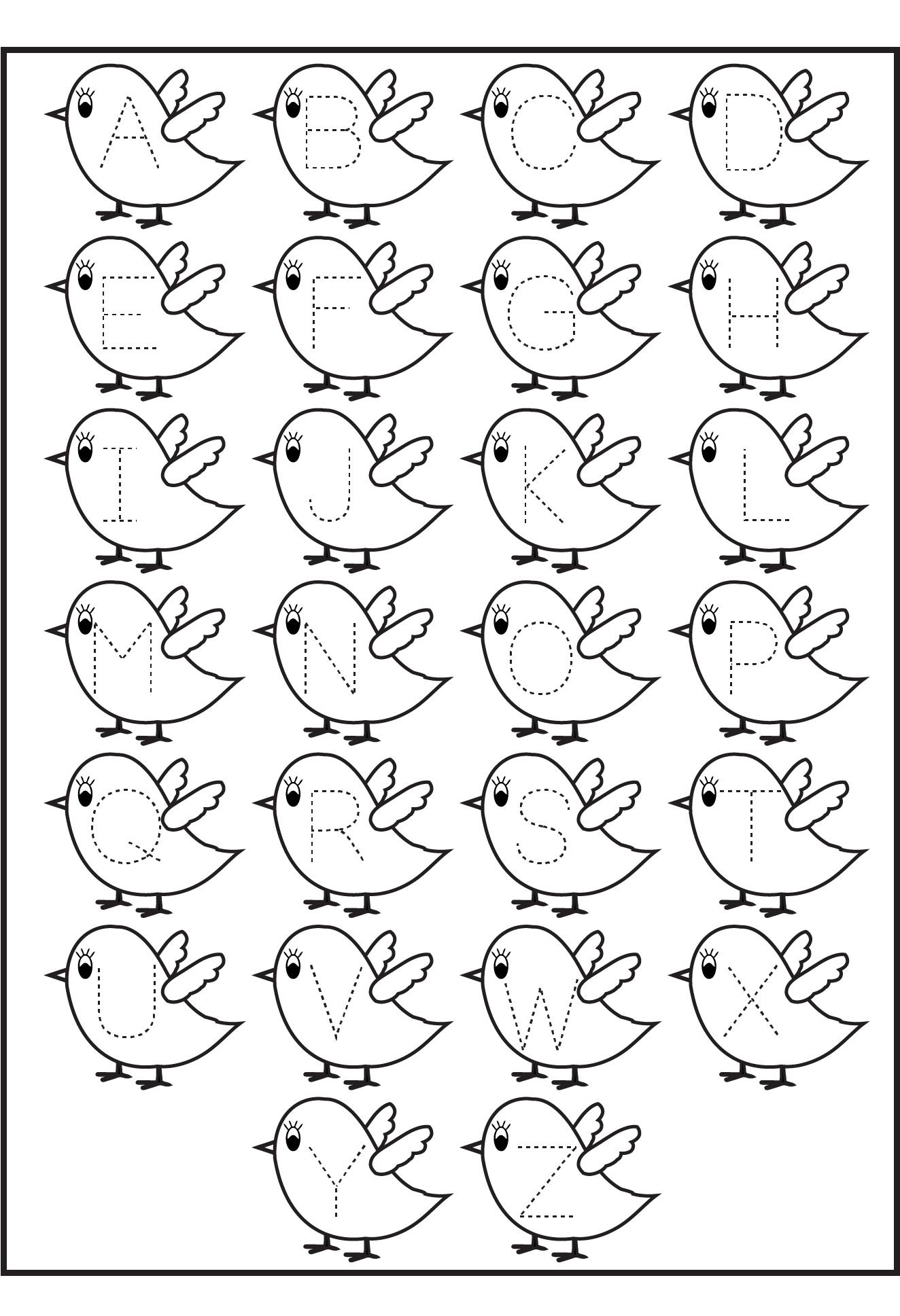 Alphabet Letter Trace Worksheet for Kindergarten