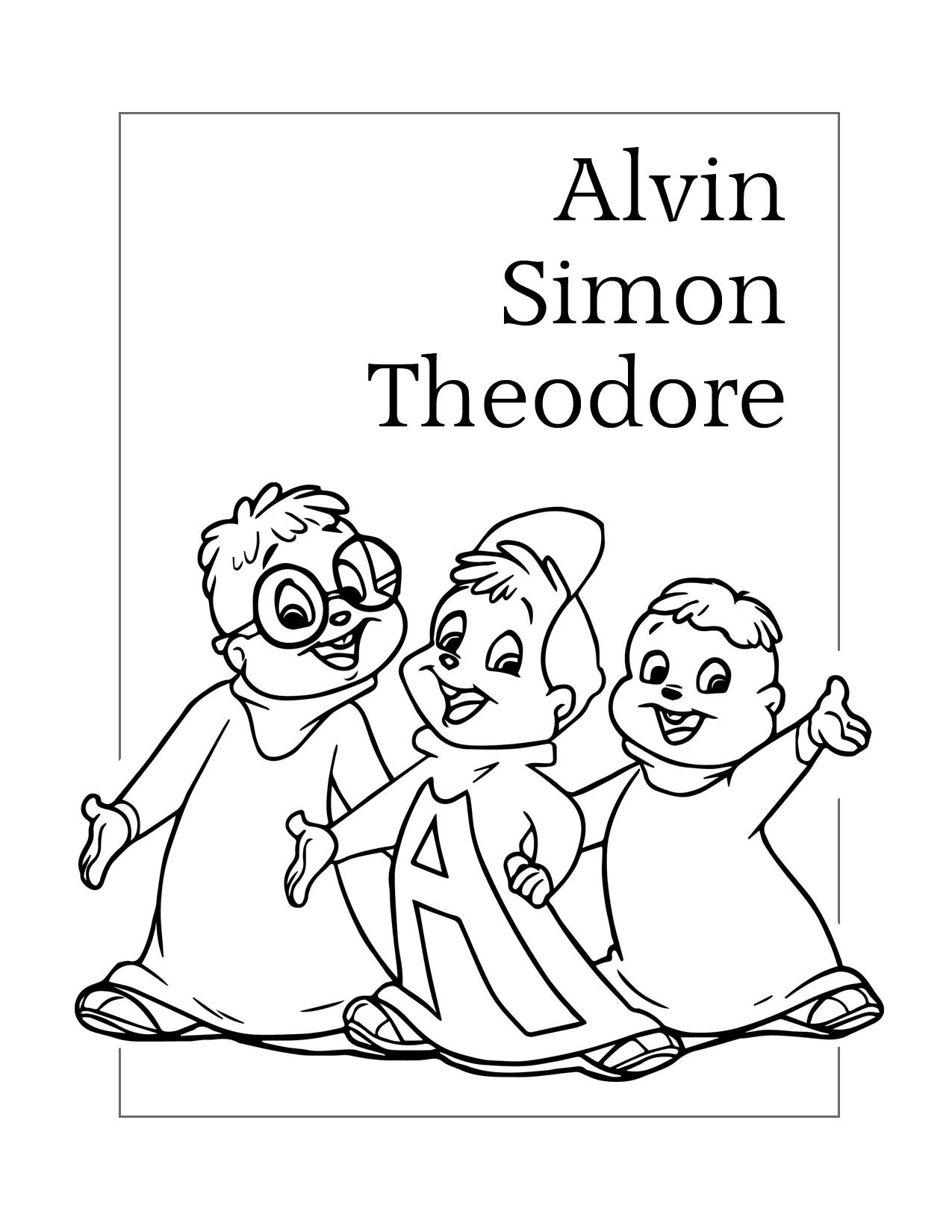 Alvin Simon Theodore Chipmunk Coloring Page