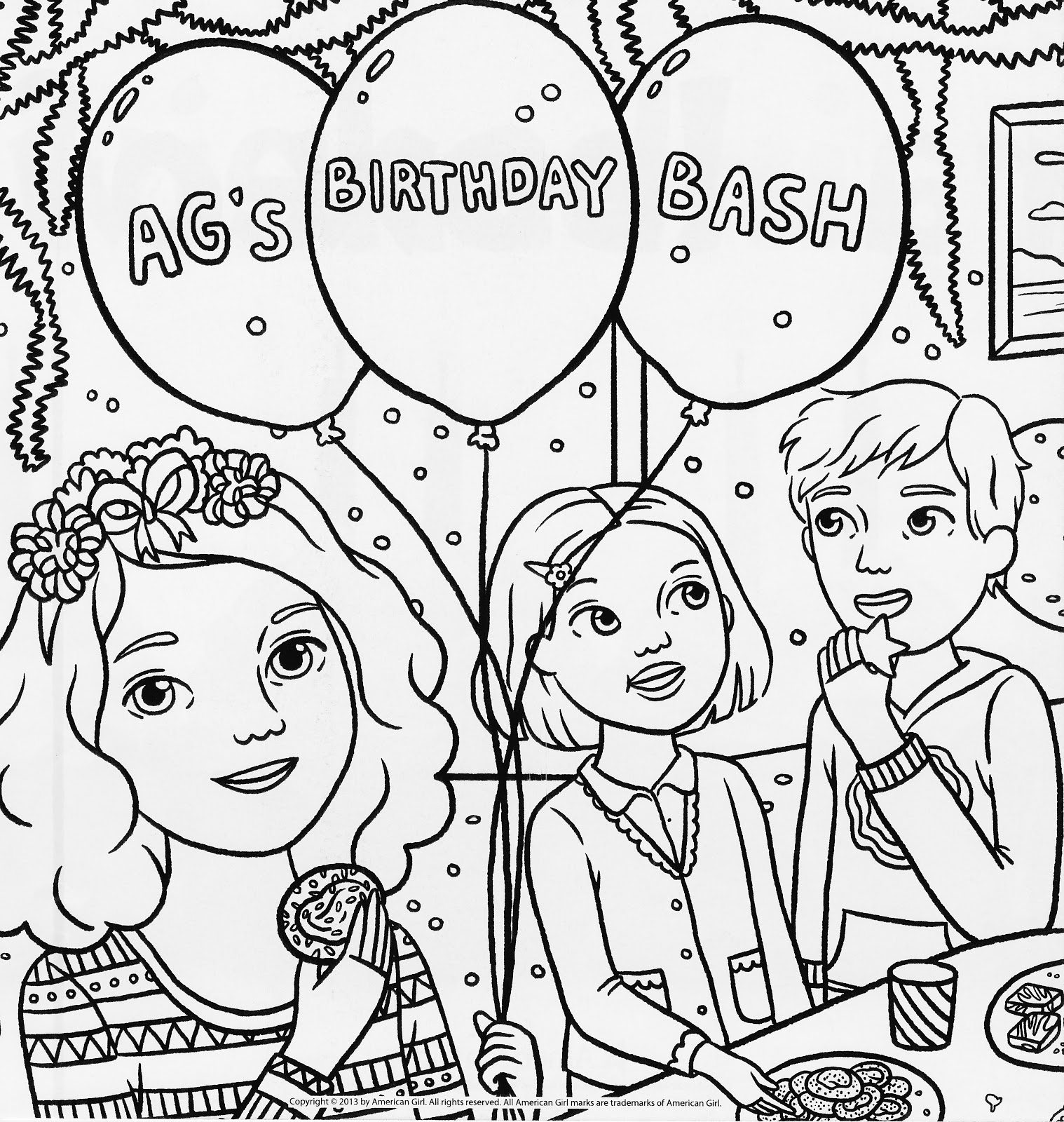 American Girl Doll Birthday Party Coloring Pages