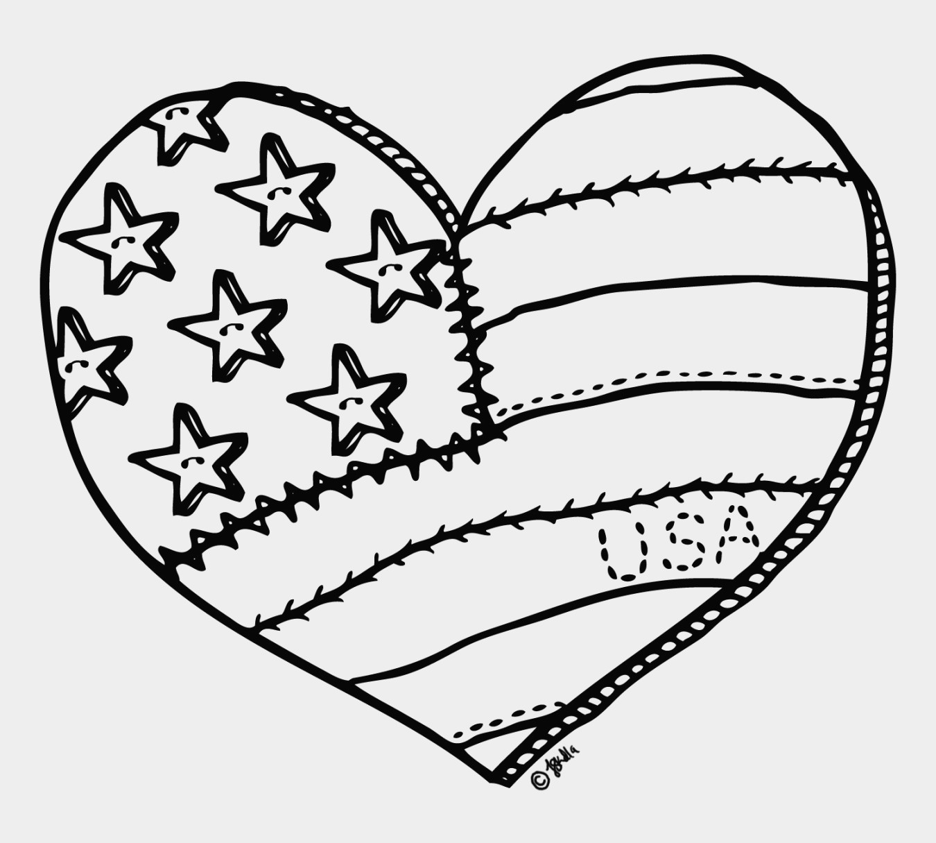 American Heart Coloring Page