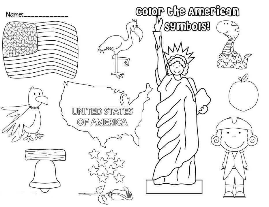 American Symbols Coloring Page