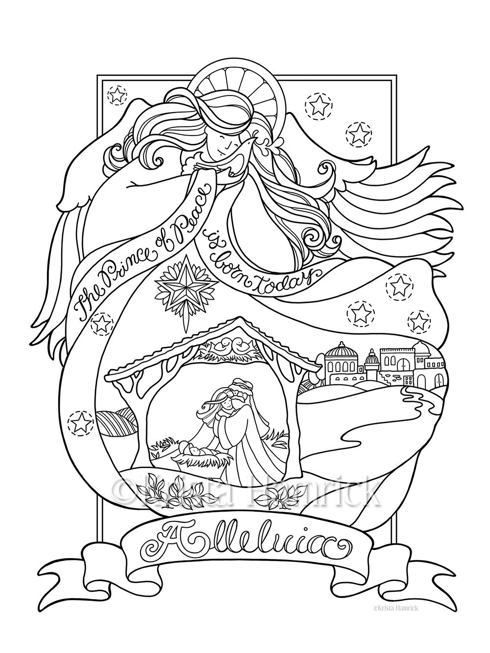 Angel Art Coloring Page