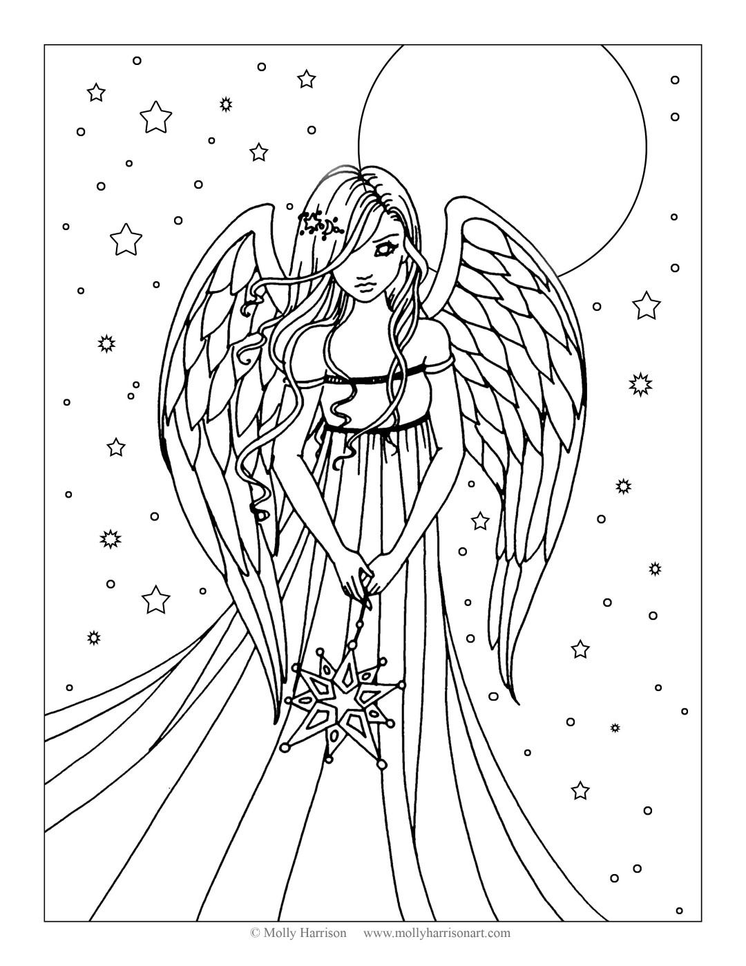 Angel Coloring Page for Teens and Adults