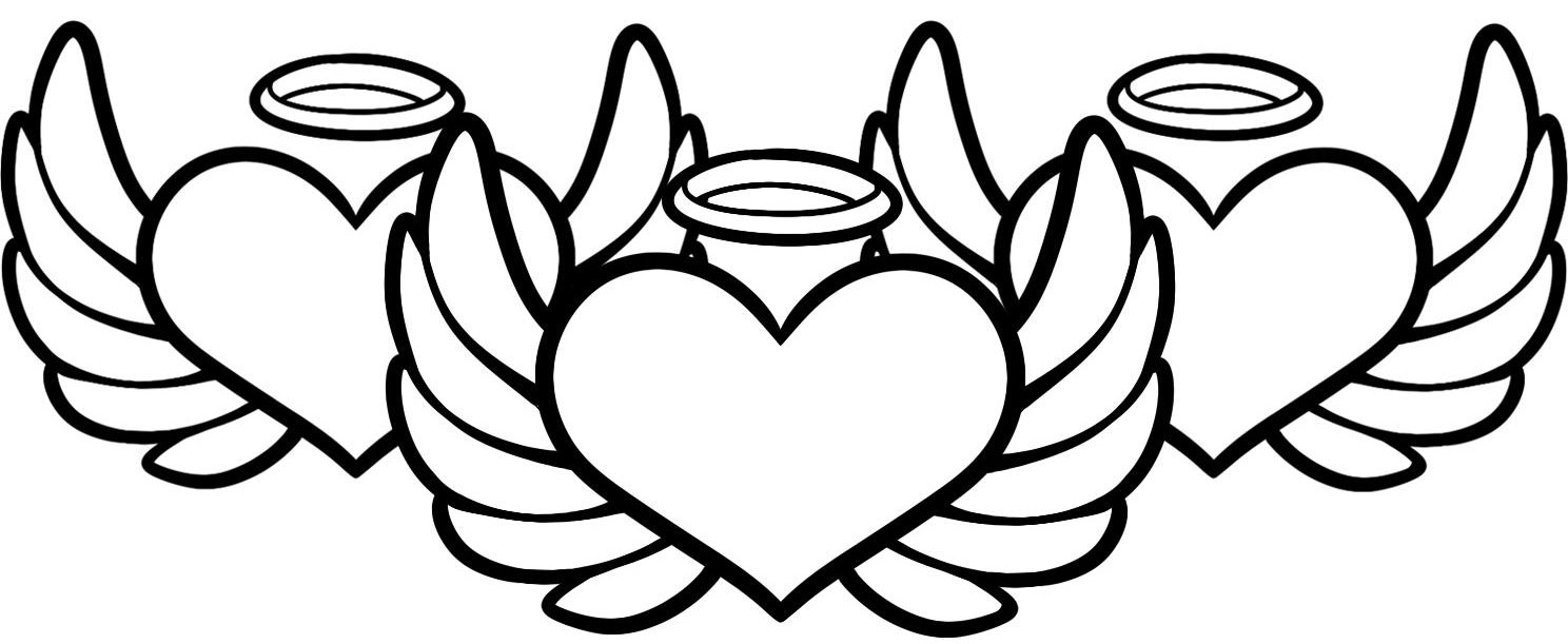 Angel Hearts Coloring Page