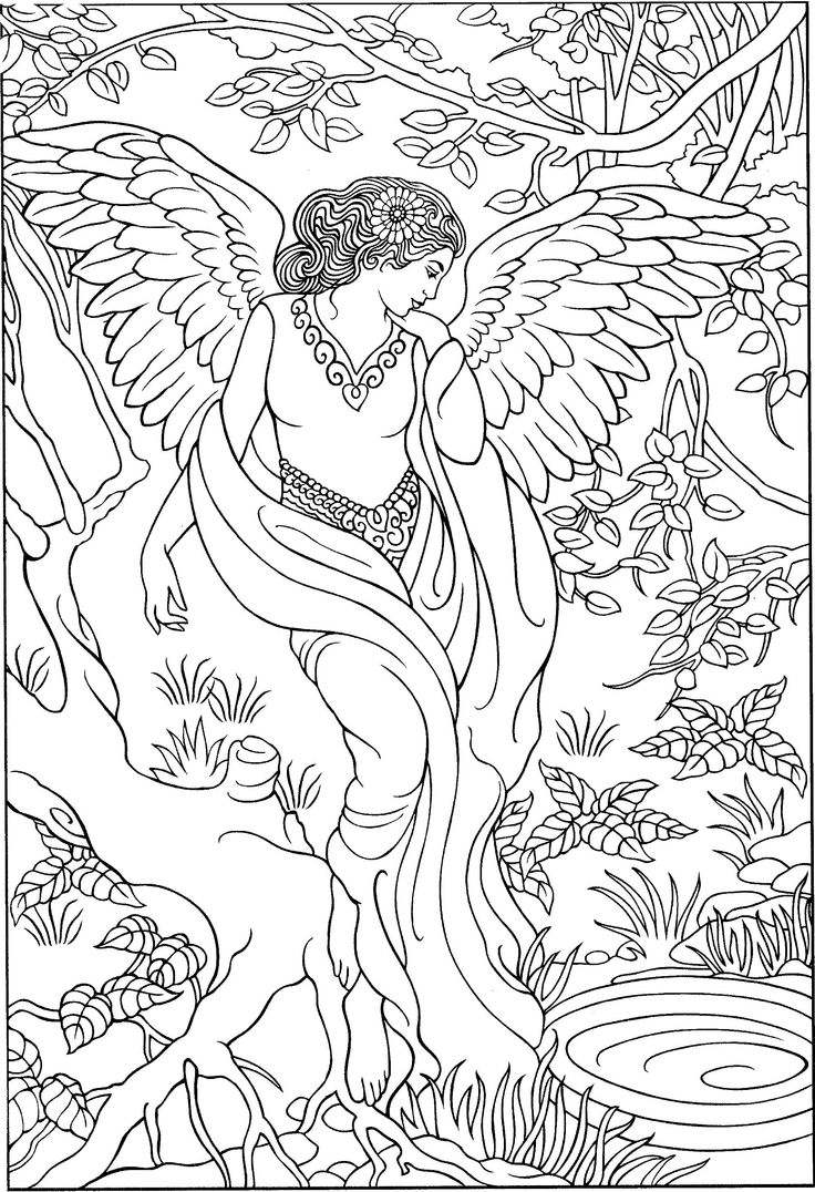 Angel in Forest Coloring Page for Adults